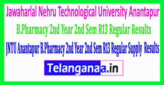 JNTU Anantapur B.Pharmacy 2nd Year 2nd Sem (R13) Regular Supply Exam 2018 Results