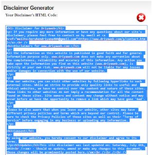 cara mudah membuat disclaimer untuk blog atau website