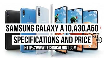 Samsung Galaxy A50, Samsung Galaxy A30 and Samsung Galaxy A10