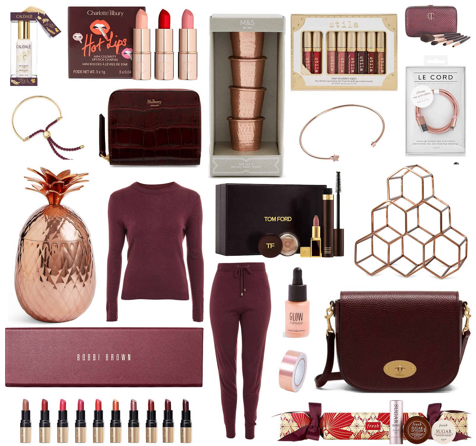 The city girl blog ultimate gift guide 2017 face spray cracker caudalie mini lipsticks charlotte tilbury shot glasses ms liquid lipstick set stila mini brush set charlotte solutioingenieria