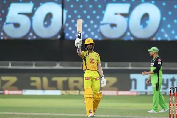 RCB VS CSK IPL 2020 match 44:  ऋतुराज गायकवाड़ की पहली फिफ्टी - चेन्नई ने बैंगलोर को 8 विकेट से हराया