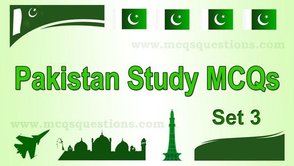 Pakistan Study MCQs With Answers Set 3