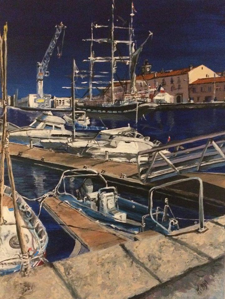 peinture acrylique de Karine Babel, Port-vendres, Belem