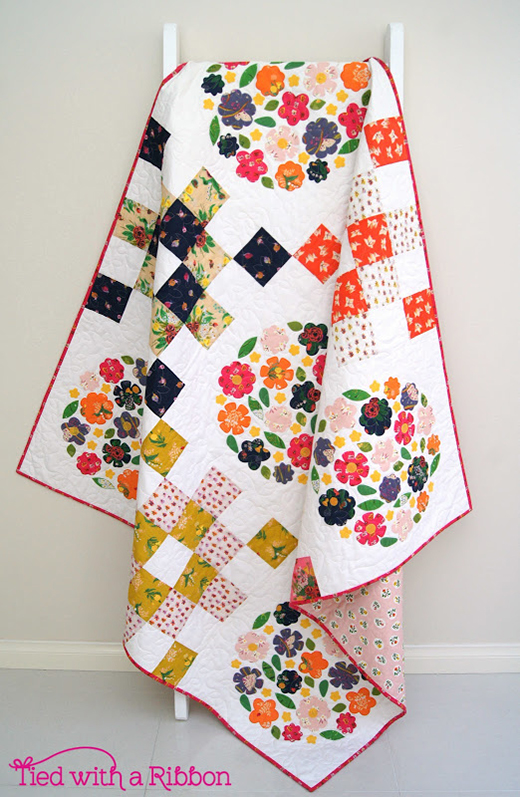 Blooms Garden Quilt designed by Jemima Flendt of Tied with a Ribbon