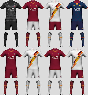 PES 2020 AS Roma 2019-20 Kit Set by tekask1903