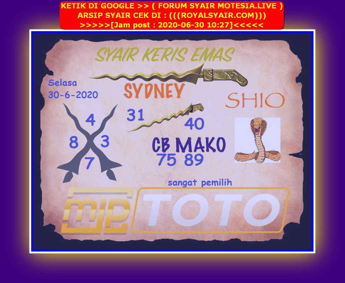 Kode syair Sydney Selasa 30 Juni 2020 243