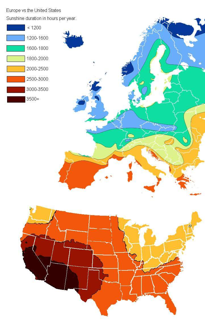 Europe vs U.S. Annual Hours of Sunshine