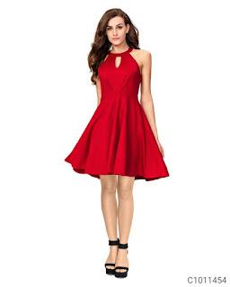 Women's Cotton Solid Short Dresses