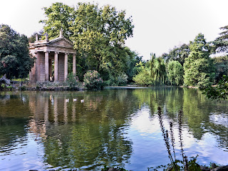 The Tempio Esculapio by Antonio Asprucci is a feature of the Villa Borghese Gardens in the centre of Rome