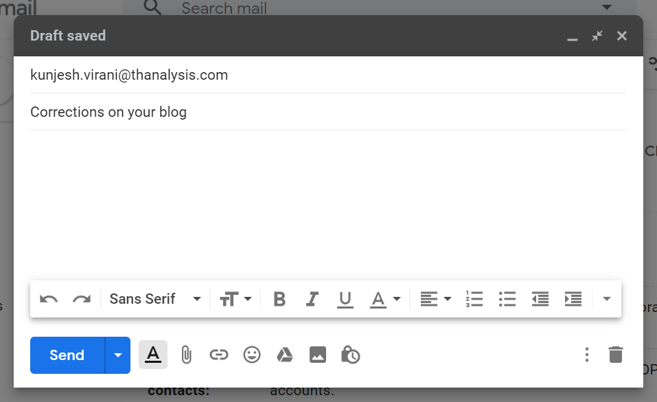 Write a subject for the email in the subject input field - Thanalysis