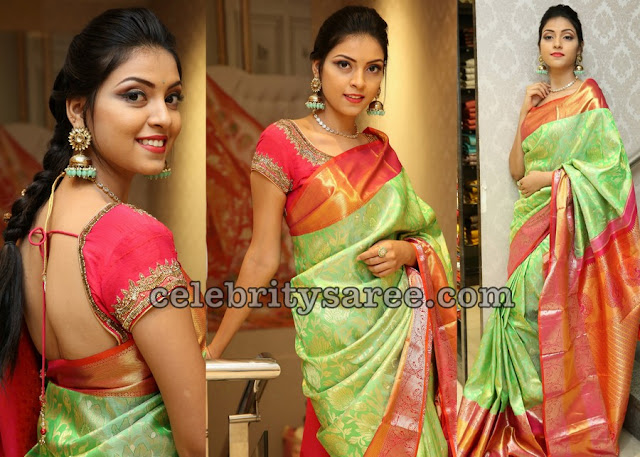 Yashu Mashetty Green Silk Saree