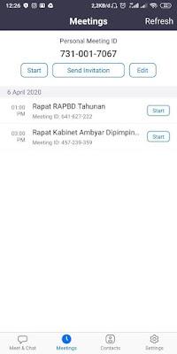 Cara melihat Jadwal Meeting di Zoom Android/IOS