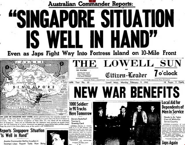 Lowell Sun of 9 February 1942, worldwartwo.filminspector.com