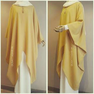 Model baju lebaran muslimah Kuning emas abaya