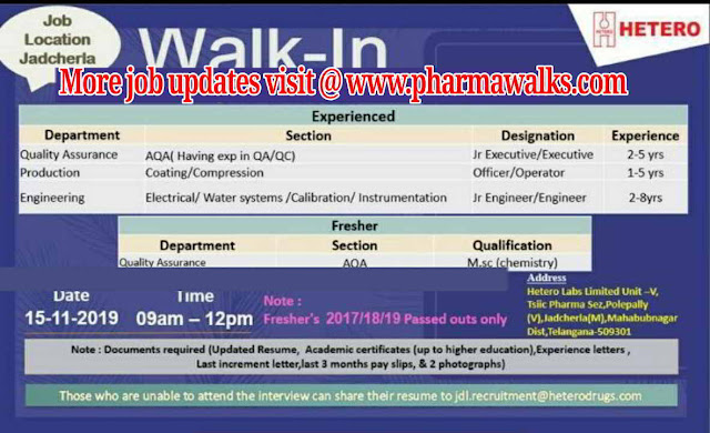 Hetero walk-in interview for QA / Production / Engineering on 16th November, 2019