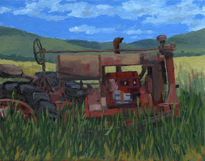 art painting abandoned tractor farmall rural farm machinery antique
