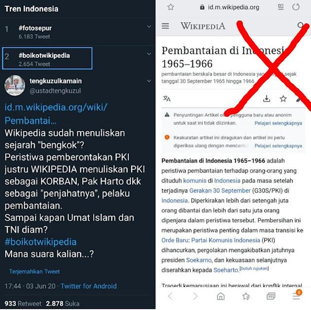 Trending 'Boikot Wikipedia', Ustadz Tengku: Pemberontakan PKI justru WIKIPEDIA menuliskan PKI sebagai KORBAN