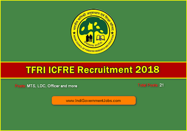 TFRI ICFRE Recruitment 2018