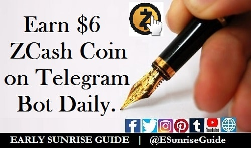 Earn $6 ZCash Coin on Telegram Bot Daily