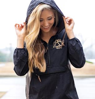 monogrammed hoodie rain jacket