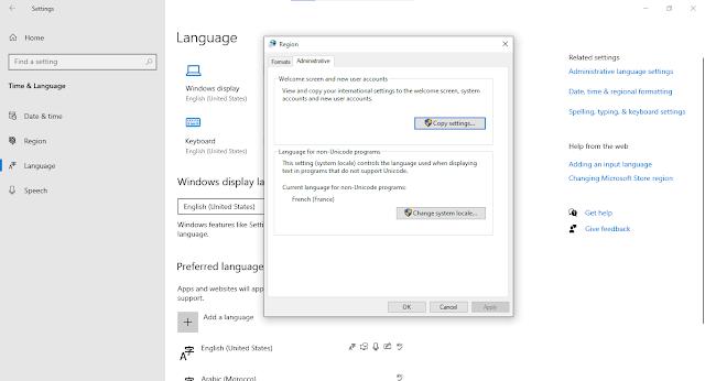طريقة تغيير لغة ويندوز 10