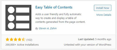 Free Easy Table of Contents Plugin