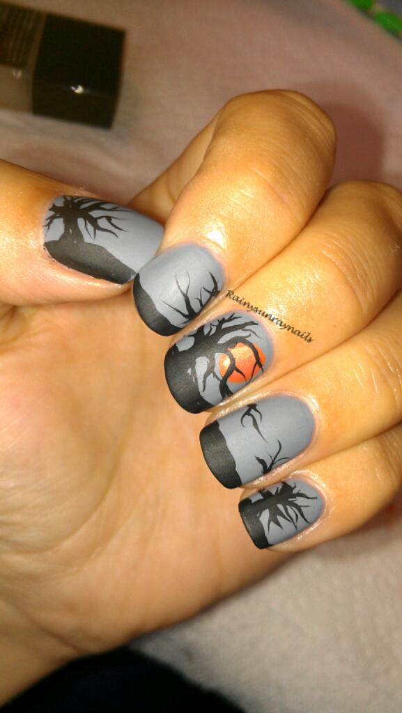 rainysunraynails: Fall Nail Art 2012. Spooky Sunset