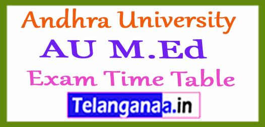 Andhra University AU M.Ed Exam Time Table