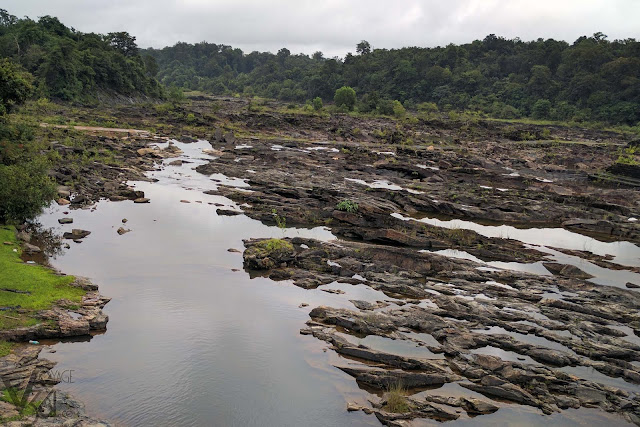 Sharavathi river flowing through the rocky bed