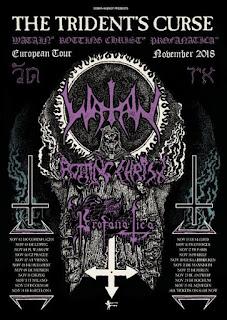 Affiche de la tournée The Trident's Curse avec Watain, Rotting Christ et Profanatica