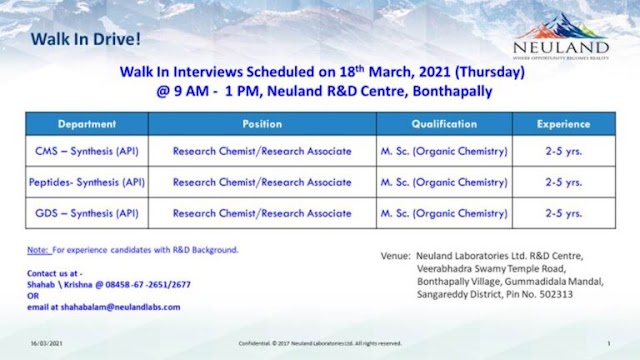 Neuland Labs | Walk-in interview for R&D synthesis on 18th Mar 2021