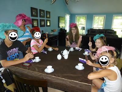 kids, dress up, tea party