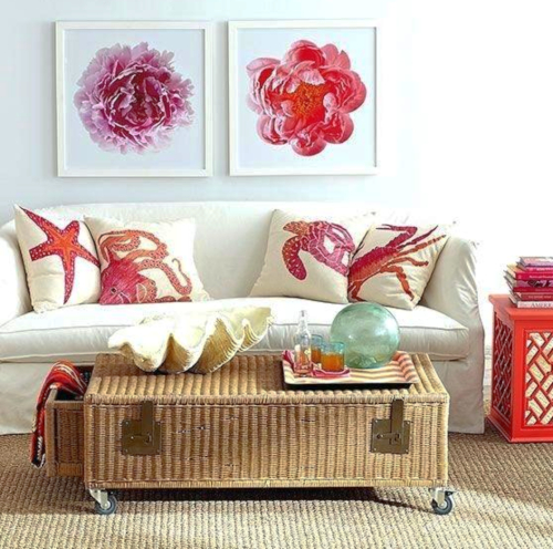 Red Coastal Nautical Sea Life Pillows Living Room Decor in Red