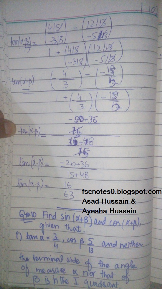 FSc ICS FA Notes Math Part 1 Chapter 10 Trigonometric Identities Exercise 10.2 Question 9 Written by Asad Hussain & Ayesha Hussain 11