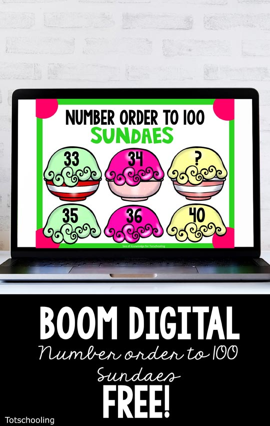 FREE Digital BOOM cards for kindergarten kids to practice number sequence to 100 with a fun ice cream theme!