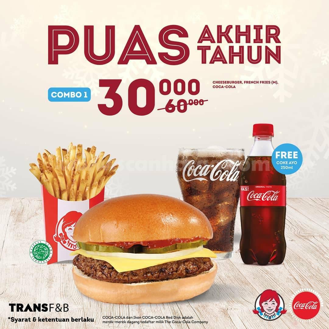 WENDYS Promo PUAS AKHIR TAHUN – Paket COMBO Hemat GRATIS Coca Cola mulai Rp 30Rb*