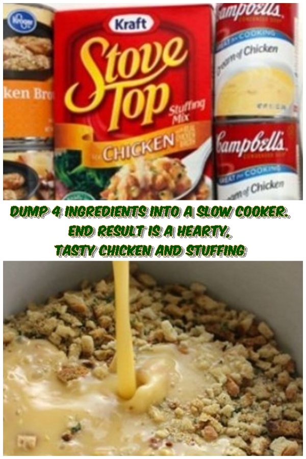#Dump 4 #Ingredients #Into #A #Slow #Cooker. #End #Result #Is #A #Hearty #Tasty #Chicken #And #Stuffing #crockpotrecipes #chickenbreastrecipes #easychickenrecipes #souprecipes
