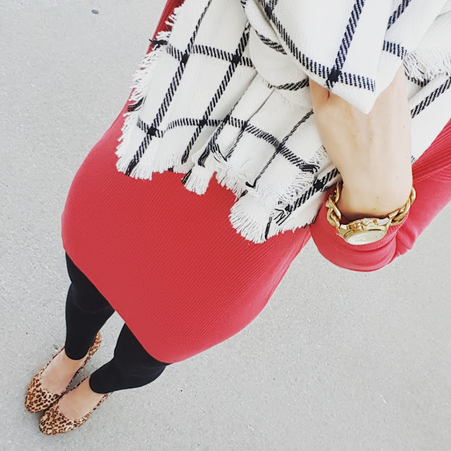 Caslon Tunic Top (60% off - only $24, regular $64!)  // Merona Scarf // Forever 21 Leggings - only $4! // Jessica Simpson Wedges (similar - 40% off!) // Michael Kors Watch (similar under $20)