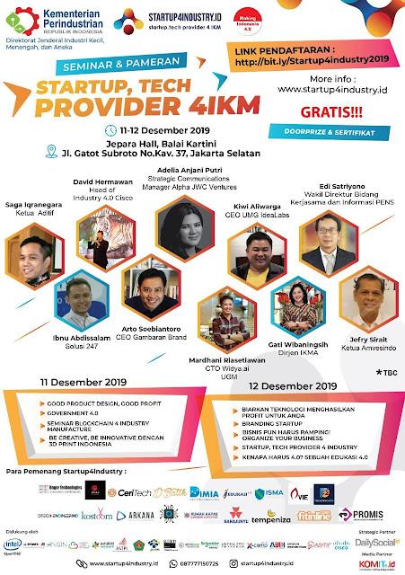 Seminar & Pameran Startup, Tech Provider 4IKM - 11-12 Des 2019