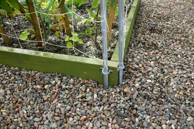 U Clips where screwed into the box corners to aid trellis support.