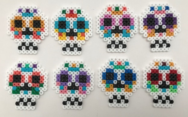 Hama bead Halloween sugar skull design