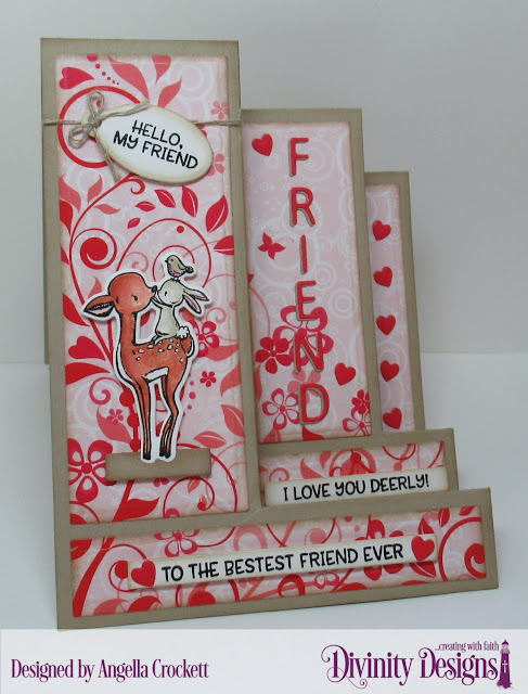 Divinity Designs LLC: Fur-ever Friends Stamp/Die Duos, Sweet Hearts Paper Collection, Triple Step with Layers Dies, Mini Tags Dies, Sentiment Strips Dies, Letter Board Dies, Clouds and Raindrops Dies, Card Designer Angie Crockett