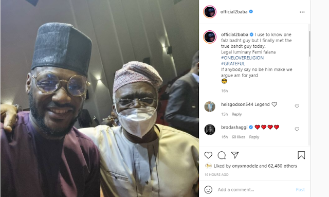 I finally met the true bahdt guy – 2Baba says as he meets falz father for the first time (Photo)
