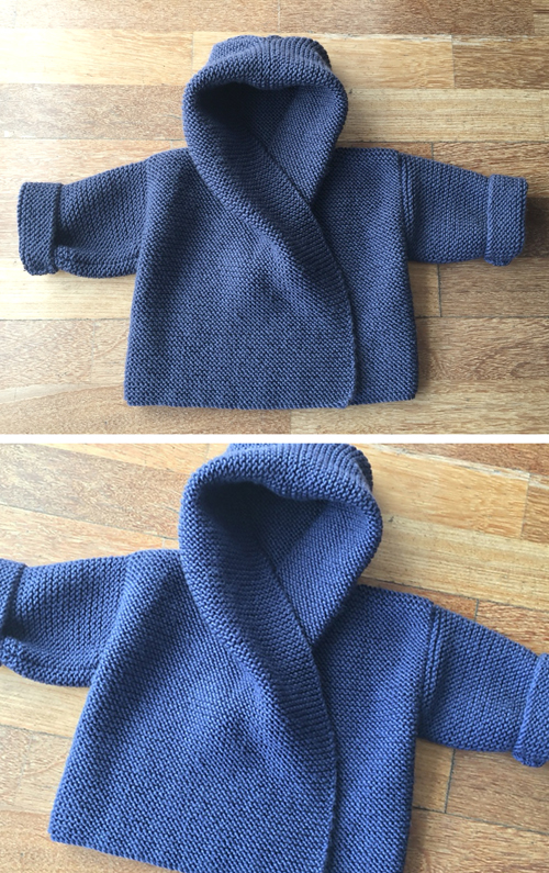 Baby Hooded Wrap Cardigan - Knitting Pattern