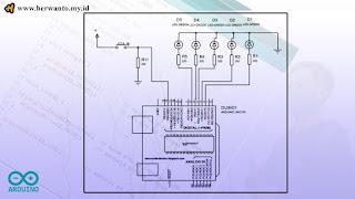 Skema Running LED dengan Input Tombol
