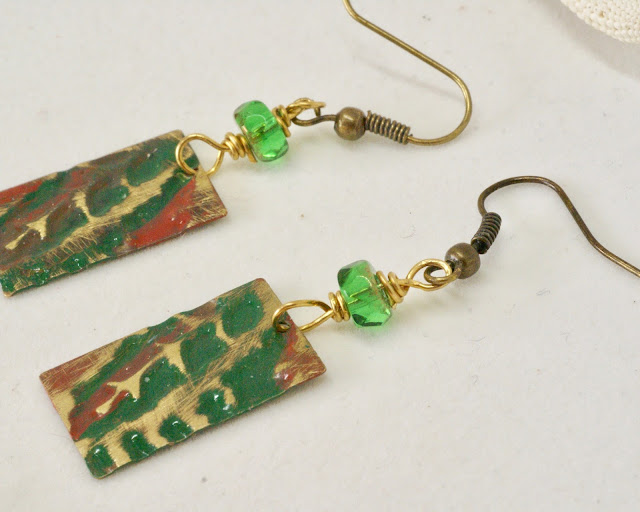 Green fern earrings by BayMoonDesign