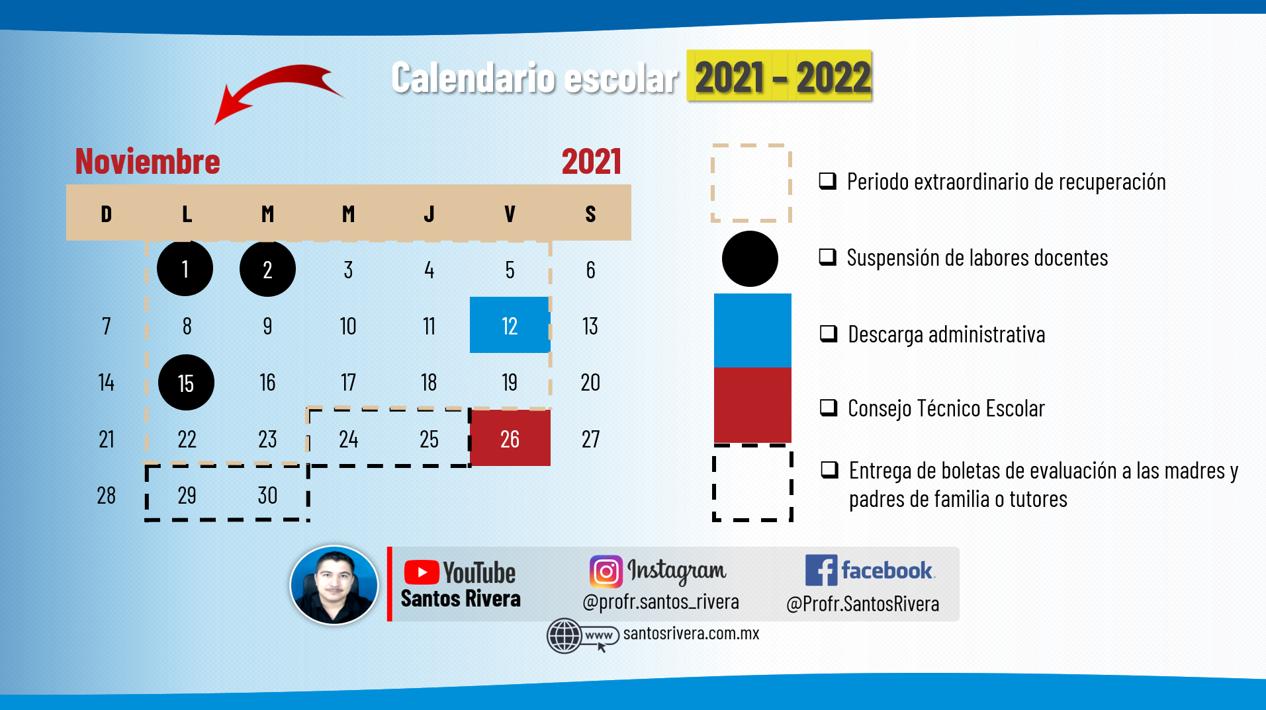 calendario escolar del mes de noviembre 2021 - 2022