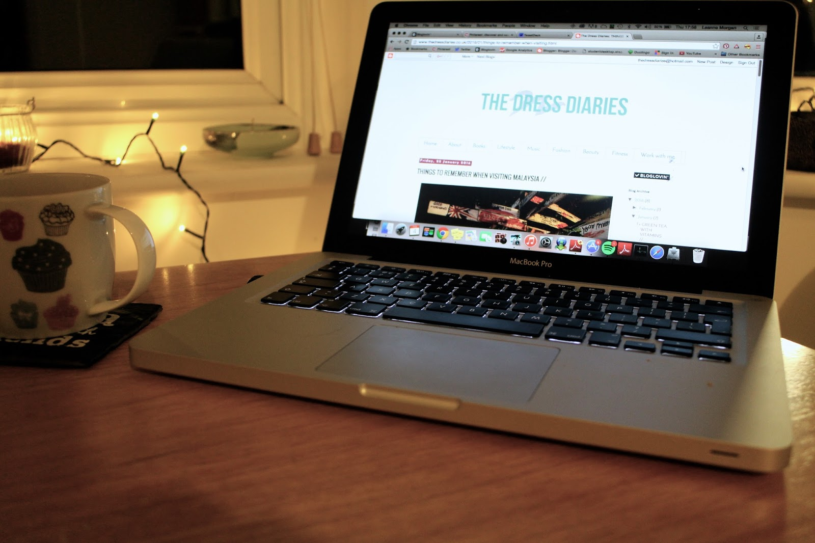 Laptop on the table with The Dress Diaries homepage