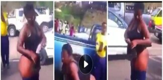 Lady runs mad after spending a night with an unknown man in a hotel (Watch video)