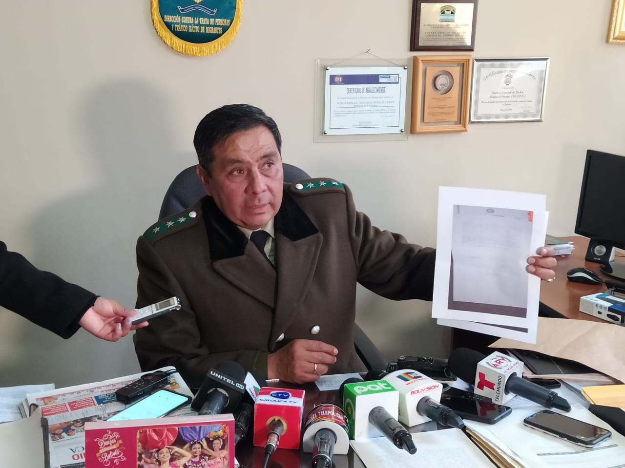 Director de la FELCC, coronel Iván Rojas, afirma que la situación está vigilada  / ÁNGEL SALAZAR